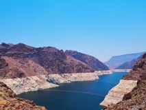 Hoover Dam with Blue Sky Contrast Stock Images