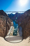 The Hoover Dam at the boulder of Arizona and Nevada, bridge, canyon and the dam Stock Photo