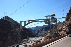 Hoover Dam Bridge. Under Construction Bridge over colorado river after Hoover Dam to the south Stock Photos