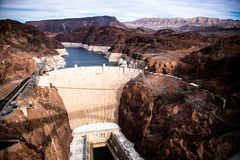 Hoover Dam an architectural masterpiece at the border between Nevada and Arizona royalty free stock photography