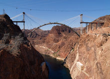 Hoover Dam Bypass Bridge. Hoover Dam and the Hoover Dam Bypass Bridge during early construction on the border between the U.S. states of Arizona and Nevada Royalty Free Stock Images