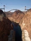 Hoover Dam Bypass Bridge. Hoover Dam and the Hoover Dam Bypass Bridge during early construction on the border between the U.S. states of Arizona and Nevada Stock Photo