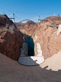 Hoover Dam Bypass Bridge. Hoover Dam and the Hoover Dam Bypass Bridge during early construction on the border between the U.S. states of Arizona and Nevada Stock Photography