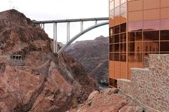Hoover Dam bypass bridge over Colorado River. Second tallest bridge in America. Arch bridge Royalty Free Stock Photo