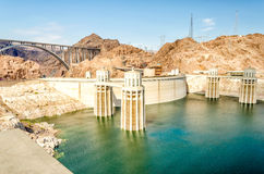 Hoover Dam and Colorado River at the border between Nevada and A Stock Image