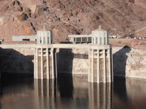 Hoover Dam. Constructed between 1931 and 1936 during the Great Depression.  It holds water from Lake Mead largest water supply in the United States Stock Photos