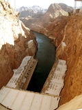 Hoover Dam on the Down Side. This is the bottom of the Hoover Dam. See in the upper right and left top of the photo? This is where the new road will cross to royalty free stock images