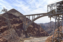 Hoover Dam electrical wres and bridge Nevada. Stock Photos