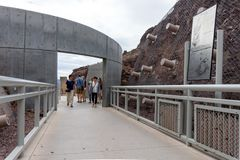 Hoover Dam entrance with a historic information plates Stock Photos