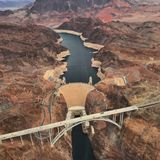 Hoover Dam from Helicopter stock photos
