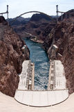 Hoover Dam and the Hoover Dam Bypass Bridge Stock Photo
