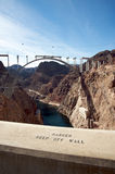 Hoover Dam and the Hoover Dam Bypass Bridge. During construction Royalty Free Stock Images