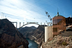 Hoover Dam and the Hoover Dam Bypass Bridge. During construction Royalty Free Stock Image