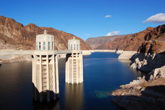 Hoover Dam Intake Towers. Hoover Dam is on the border between Arizona and Nevada, USA Stock Photos