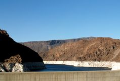 Hoover Dam Lake is getting a little low. This is the top lake side of the Hoover Dam. See how far the water is down? This is just a few days after letting it out stock images