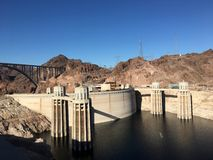 The Hoover Dam and Lake Mead. An ariel view of the Hoover Dam holding back Lake Mead Royalty Free Stock Photography