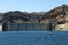 Hoover Dam , Lake  Mead and Colorado River Bridge Stock Photo