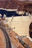 Hoover Dam, Lake Mead and highway Royalty Free Stock Image