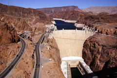 Hoover Dam, Lake Mead and highway Stock Photography