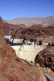 Hoover Dam, Lake Mead and highway Stock Photos