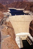 Hoover Dam, Lake Mead and highway Stock Images