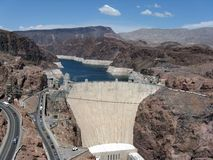 Hoover Dam and Lake Mead reservoir. Hoover Dam in the Black Canyon of the Colorado River on the border between the US states of Arizona and Nevada Royalty Free Stock Photo