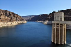 Hoover Dam and Lake Mead. View over the desert Stock Photography