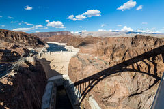 Hoover Dam and Lake Mead. Views to the Hoover Dam from the bridge Stock Images
