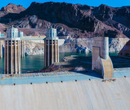 Hoover Dam. Las Vegas, NV, USA - May 9, 2016: Vistas of Hoover Dam, Lake Mead and the Mike O'Callaghan–Pat Tillman Memorial Bridge located near to Las Vegas stock photography