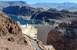 Hoover Dam, a massive hydroelectric engineering landmark located on the Nevada and Arizona border Royalty Free Stock Image