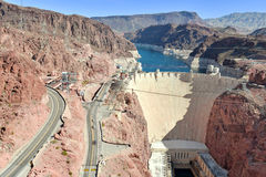 Hoover Dam, a massive hydroelectric engineering landmark located on the Nevada and Arizona border Stock Photos