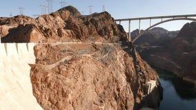 Hoover Dam with Mike O'Callaghan-Pat Tillman Memorial Bridge in 4k stock footage