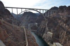 Hoover Dam, Mike O`Callaghan-Pat Tillman Memorial Bridge, geological phenomenon, bridge, nonbuilding structure, geology. Hoover Dam, Mike O`Callaghan-Pat Tillman royalty free stock photography