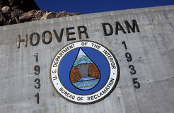Hoover Dam - Nevada - Arizona - USA. Hoover Dam, once known as Boulder Dam, is a concrete arch-gravity dam in the Black Canyon of the Colorado River, on the Royalty Free Stock Photo
