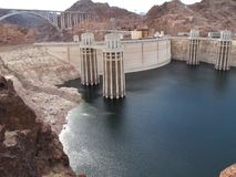 The Hoover Dam, Nevada. The Hoover Dam on the Lake Mead side, straddling the Nevada and Arizona borders Stock Image