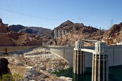 Hoover Dam and new bridge construction Royalty Free Stock Photo