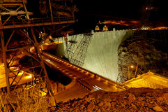 Hoover Dam at night. Slow shutter exposure of Hoover Dam at night Royalty Free Stock Photos