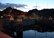 Hoover Dam at Night Royalty Free Stock Photos