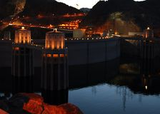 Hoover Dam at Night. Hoover Dam in the early evening Royalty Free Stock Images