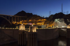 Hoover Dam at night in Boulder City, NV on June 14, 2013 Stock Photos