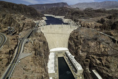 Hoover Dam. Once known as Boulder Dam, is a concrete arch-gravity dam in the Black Canyon of the Colorado River, on the border between the U.S. states of Royalty Free Stock Photography