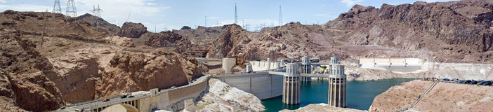 Hoover Dam panorama. True wide panorama of the famous Hoover Dam that forms Lake Mead on the Colorado River near Las Vegas, Nevada Royalty Free Stock Image