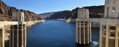 Hoover Dam Panorama and Lake Mead. Panoramic view of the Hover Dam and Lake Mead Stock Images