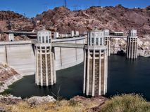 Hoover Dam panorama over Colorado River on the boarder between Arizona and Nevada Stock Image