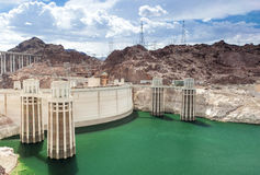 Hoover Dam and Penstock Towers in Lake Mead of the Colorado Rive Royalty Free Stock Photography