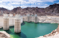 Hoover Dam and Penstock Towers in Lake Mead of the Colorado Rive Stock Photo