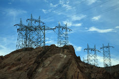 Hoover Dam Power Lines. Power lines and towers at Hoover Dam Stock Image