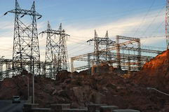The Hoover Dam power plant. The part of the Hoover Dam, power plant in a sundown royalty free stock images