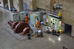 Hoover Dam Power Plant. The generator that powers the internal machines of the Hoover Dam hydroelectric power plant Royalty Free Stock Photos