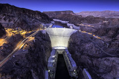 Hoover Dam. Shot takenafter sunset from the walkway on the new bypass bridge Stock Image